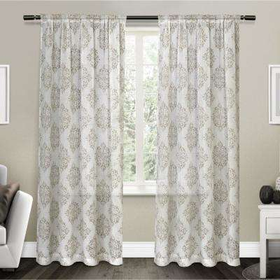 Nagano 54 in. W x 84 in. L Sheer Rod Pocket Top Curtain Panel in Taupe (2 Panels)
