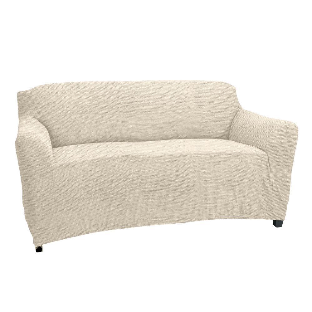 96.5 in. x 47.2 in. x 27.5 in. Zig Zag Ivory Stretch Love Seat Slip Cover