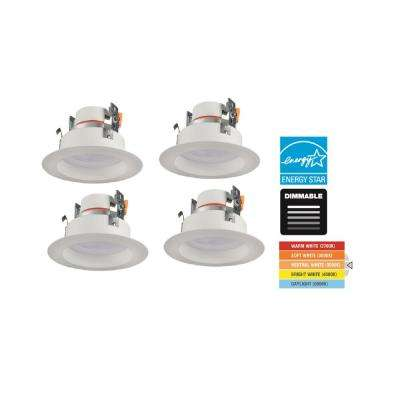 4 in. Selectable Integrated LED Recessed Adjustable Depth Trim (4-Pack)