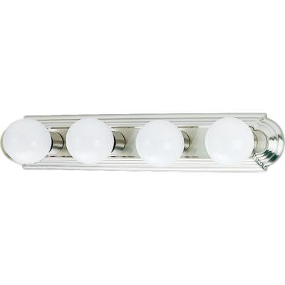 4-Light Indoor Brushed Nickel Movie Beauty Makeup Hollywood Bath or Vanity Light Bar Wall Mount or Wall Sconce