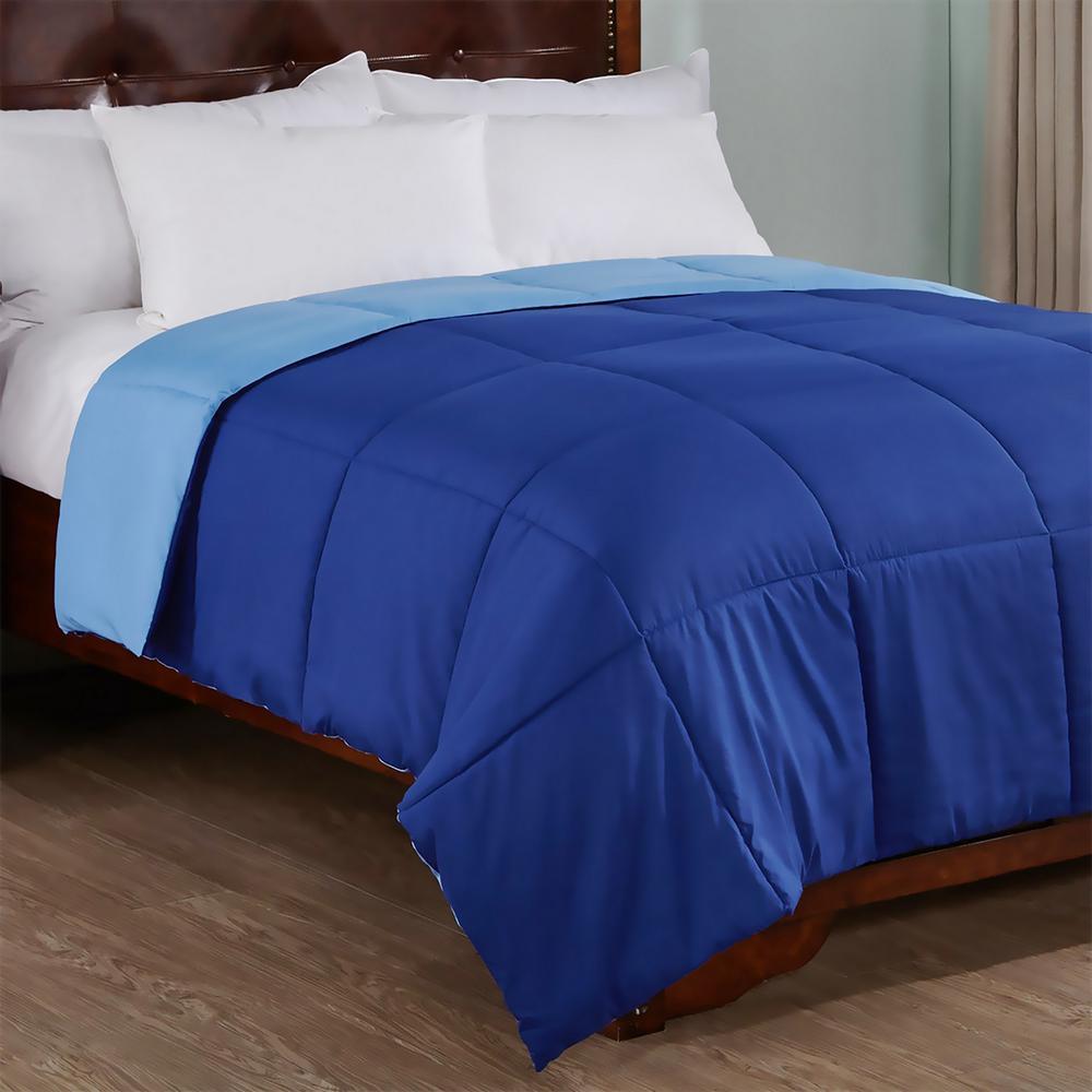 Reversible Dark Blue/Light Blue Twin Lightweight Down Alternative Comforter