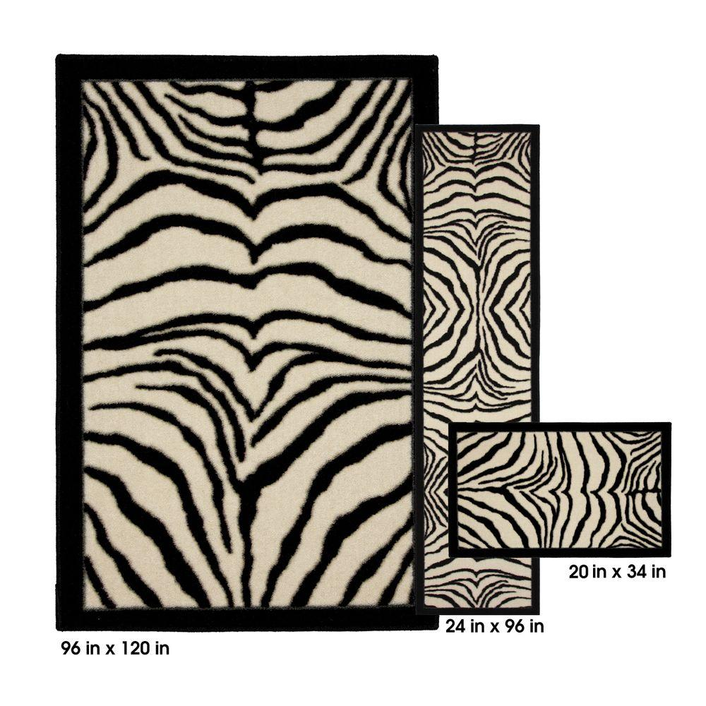 Mohawk Home Zebra Safarie Black 8 ft. x 10 ft. 3 Piece Rug Set