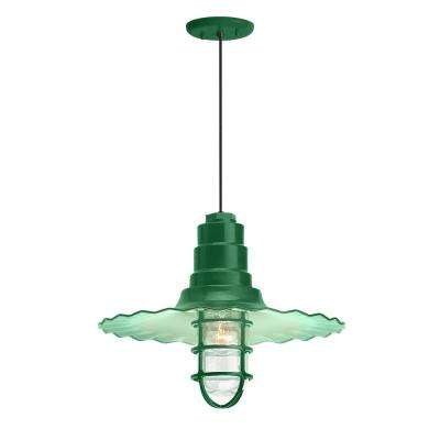 Radial Wave 18 in. Shade 1-Light Hunter Green Finish Pendant