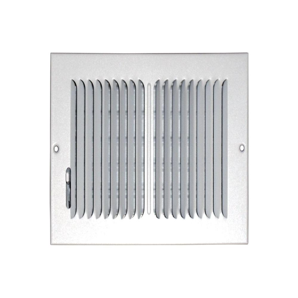 SPEEDI-GRILLE 8 in. x 8 in. Ceiling/Sidewall Vent Register, White with 2-Way Deflection