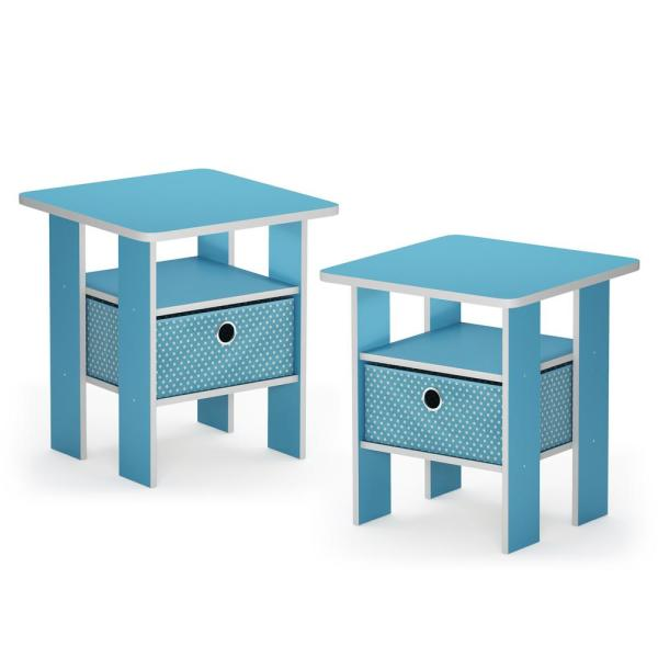 Andrey 17.5 in. Light Blue End Table Nightstand with Bin Drawer (Set of 2)