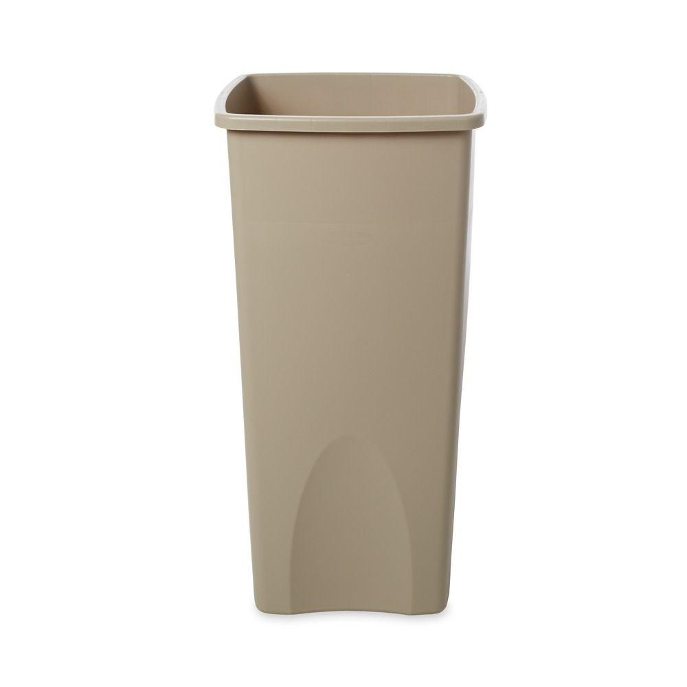 Untouchable 23 Gal. Beige Square Trash Can, Beige/Bisque