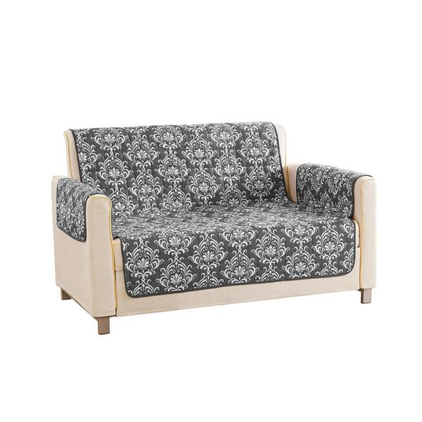 QuickFit Aime Water Resistant Grey Fit Polyester Fit Loveseat Slip Cover