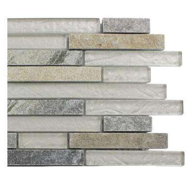 Tectonic Harmony Green Quartz Slate and White Gold Glass Tiles - 6 in. x 6 in. Tile Sample