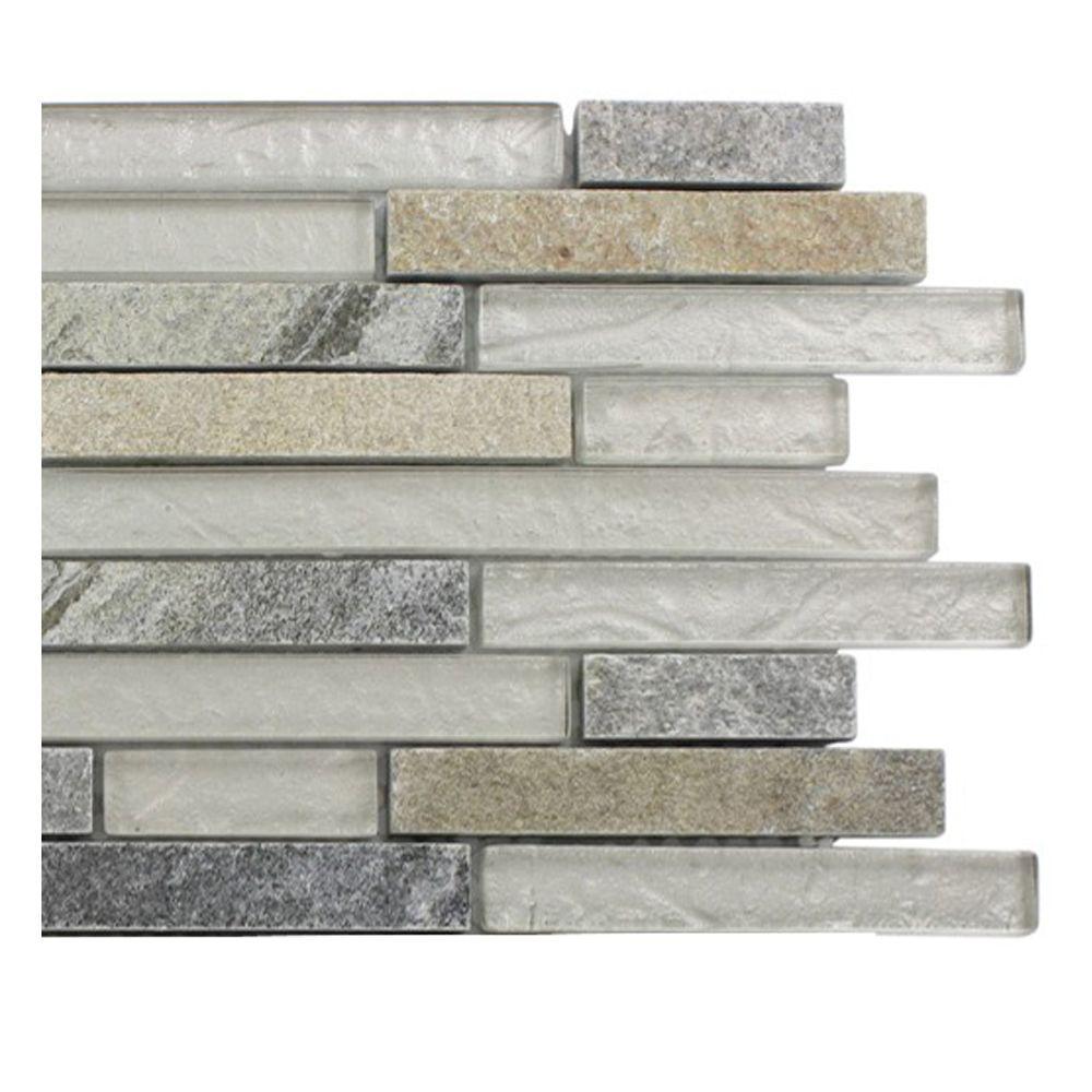 Tectonic Harmony Green Quartz Slate and White Gold Glass Tiles - 6 in. x 6 in. Tile Sample