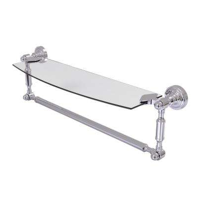 Dottingham 18 in. L  x 5 in. H  x 5 in. W Clear Glass Vanity Bathroom Shelf with Towel Bar in Polished Chrome