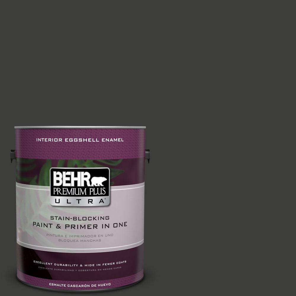 1 gal. #S-H-790 Black Suede Eggshell Enamel Interior Paint and Primer