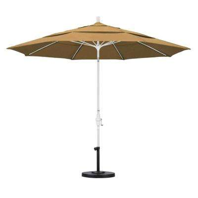 11 ft. Fiberglass Collar Tilt Double Vented Patio Umbrella in Straw Olefin
