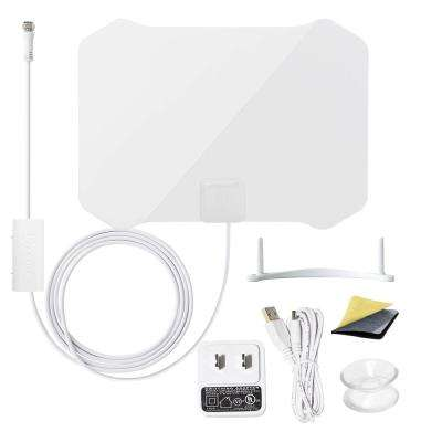 Paper Thin Antenna Smartpass Amplified TV Antenna with Built-In 4G LTE Filter Omni-Directional Reception, White