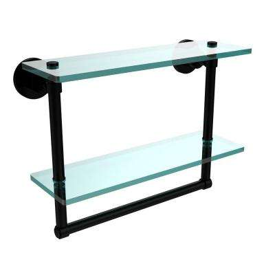 Washington Square 16 in. L  x 12 in. H  x 5 in. W 2-Tier Clear Glass Bathroom Shelf with Towel Bar in Matte Black