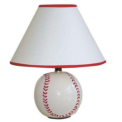 12 in. Ceramic Baseball White Table Lamp