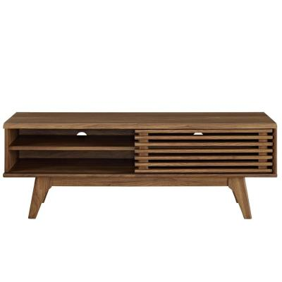 Render 48 in. Walnut Wood TV Stand Fits TVs Up to 52 in. with Storage Doors