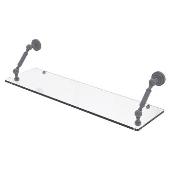 Dottingham Collection 30 in. Floating Glass Shelf in Matte Gray