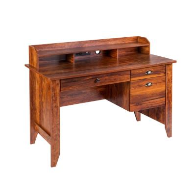 48 in. Rectangular Golden Cherry 3 Drawer Executive Desk with File Storage