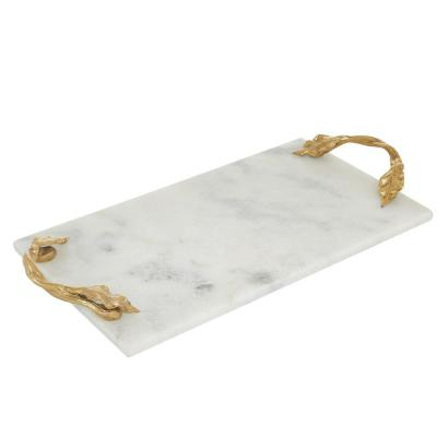 21 in. D x 10 in. W x 2 in. H White and Gold Rectangular Marble Serving Tray with Metal Handles