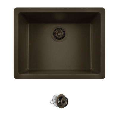 All-in-One Dualmount Quartz 22 in. Single Bowl Kitchen Sink in Mocha