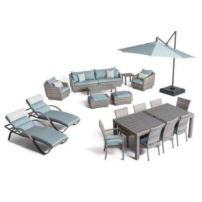 Cannes Estate Wicker 20-Piece Patio Conversation Set with Sunbrella Spa Blue Cushions