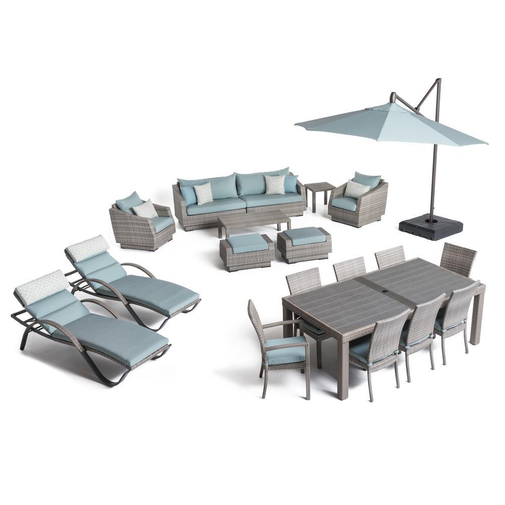 Cannes Estate Wicker 20-Piece Patio Conversation Set with Sunbrella Spa Blue Cushions
