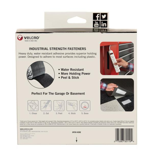 Indoor /& Outdoor Use Industrial Strength White Superior Holding Power on Smooth Surfaces Tape VELCRO Brand Size 15ft x 2in