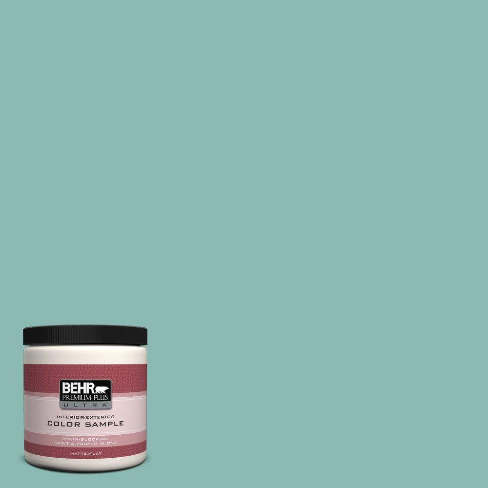 BEHR Premium Plus Ultra 8 oz. #T14-1 Ocean Liner Flat/Matte Interior/Exterior Paint Sample