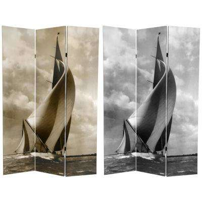 6 ft. Printed 3-Panel Sailboat Room Divider