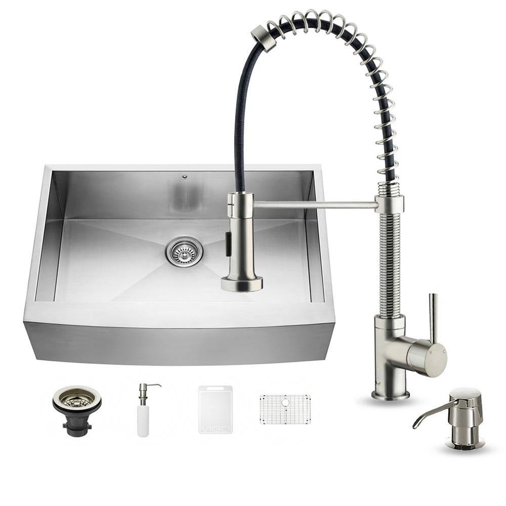 VIGO All-in-One Farmhouse Apron Front Stainless Steel 33 in. Single Bowl Kitchen Sink in Stainless Steel