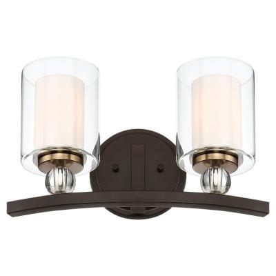 Studio 5 2-Light Painted Bronze with Natural Brushed Brass Bath Vanity Light