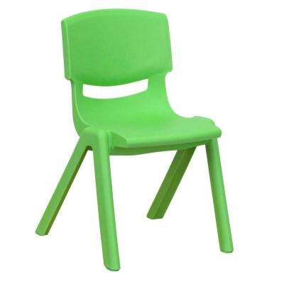 Green Plastic Stackable School Chair with 12 in. Seat Height