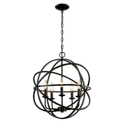 5-Light Rubbed Oil Multi Ring Orb Bronze Chandelier