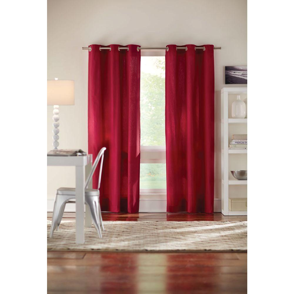 Home Decorators Collection Semi Opaque Red Cotton Duck Grommet Curtain 1624039 The Home Depot