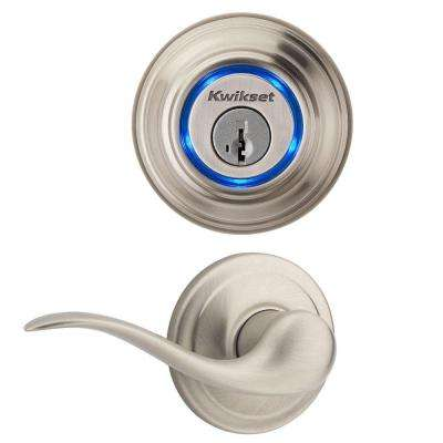 Kevo Single Cylinder Satin Nickel Bluetooth Enabled Deadbolt and Tustin Hall/Closet Lever