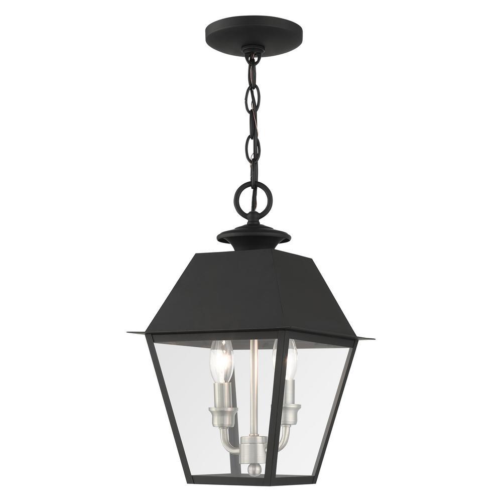 Mansfield 2-Light Black Outdoor Pendant Lightt
