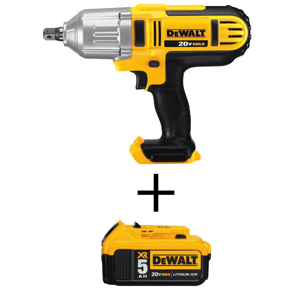 DEWALT 20-Volt MAX Cordless 1/2 in. Impact Wrench with Detent (Tool-Only) with Bonus 20-Volt MAX XR Battery 5 Ah