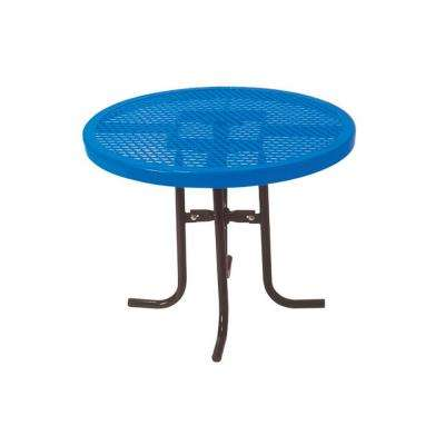 36 in. Diamond Blue Commercial Park Low Round Table Portable