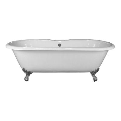 5.6 ft. Cast Iron Imperial Feet Double Roll Top Tub in White