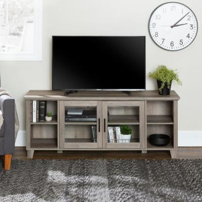 Columbus Grey Wash Tv Stand With Middle Doors