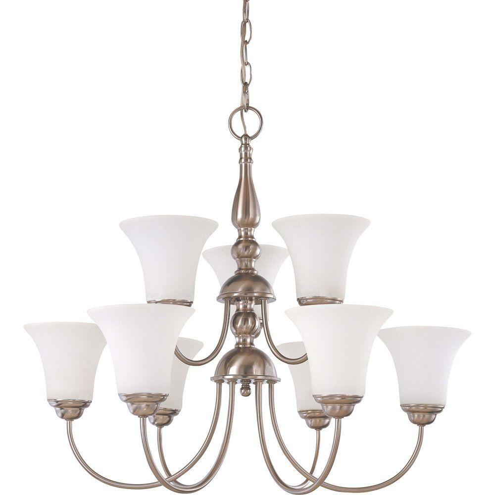 9-Light Brushed Nickel 2-Tier Chandelier with Satin White Glass Shade