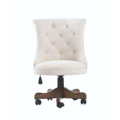 rebecca neutral linen office chair