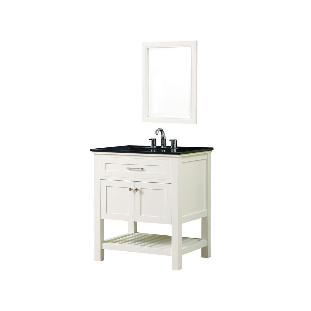 Direct vanity sink preswick spa 32 in x 25 in d vanity White bathroom vanity with black top