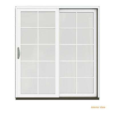 72 in. x 80 in. W-2500 Contemporary Silver Clad Wood Right-Hand 10 Lite Sliding Patio Door w/White Paint Interior