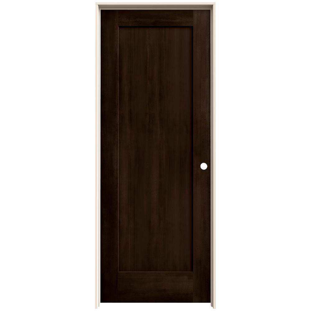 28 in. x 80 in. Madison Espresso Stain Left-Hand Solid Core Molded Composite MDF Single Prehung Interior Door