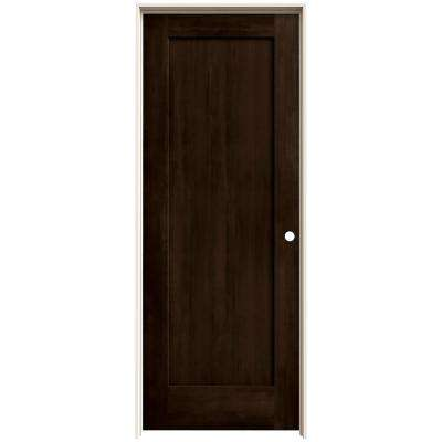 30 in. x 80 in. Madison Espresso Stain Left-Hand Solid Core Molded Composite MDF Single Prehung Interior Door
