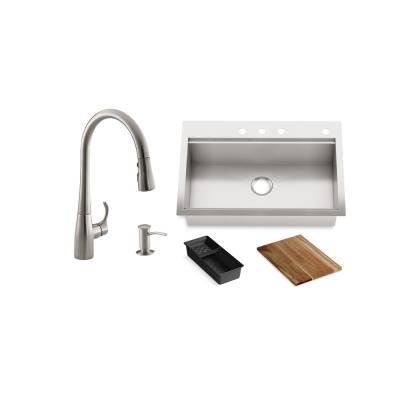Lyric Workstation 33 in. Dual Mount Stainless Steel Single Bowl Kitchen Sink with Simplice Kitchen Faucet