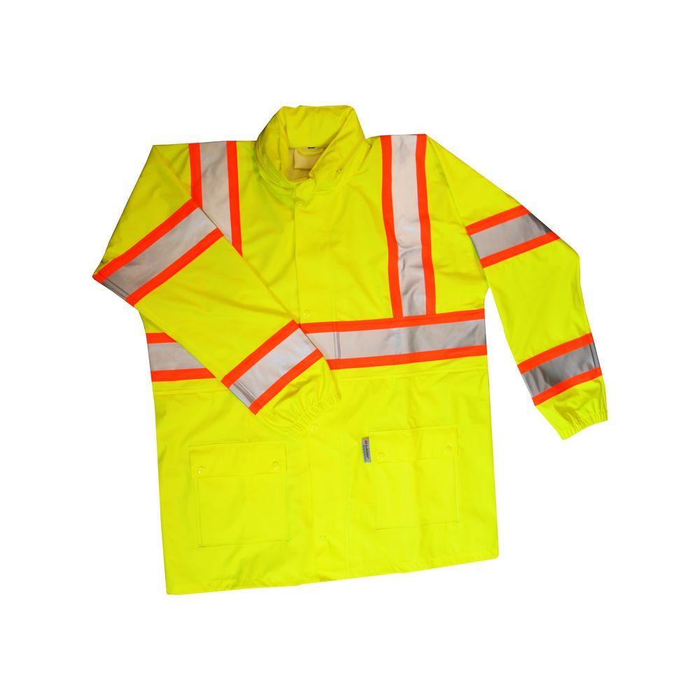 Men's Large Yellow Hi- Visibility ANSI Class 3 Rain Jacket