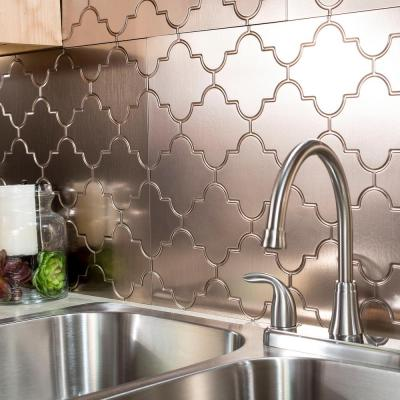 Monaco 18 in. x 24 in. Brushed Nickel Vinyl Decorative Wall Tile Backsplash 18 sq. ft. Kit