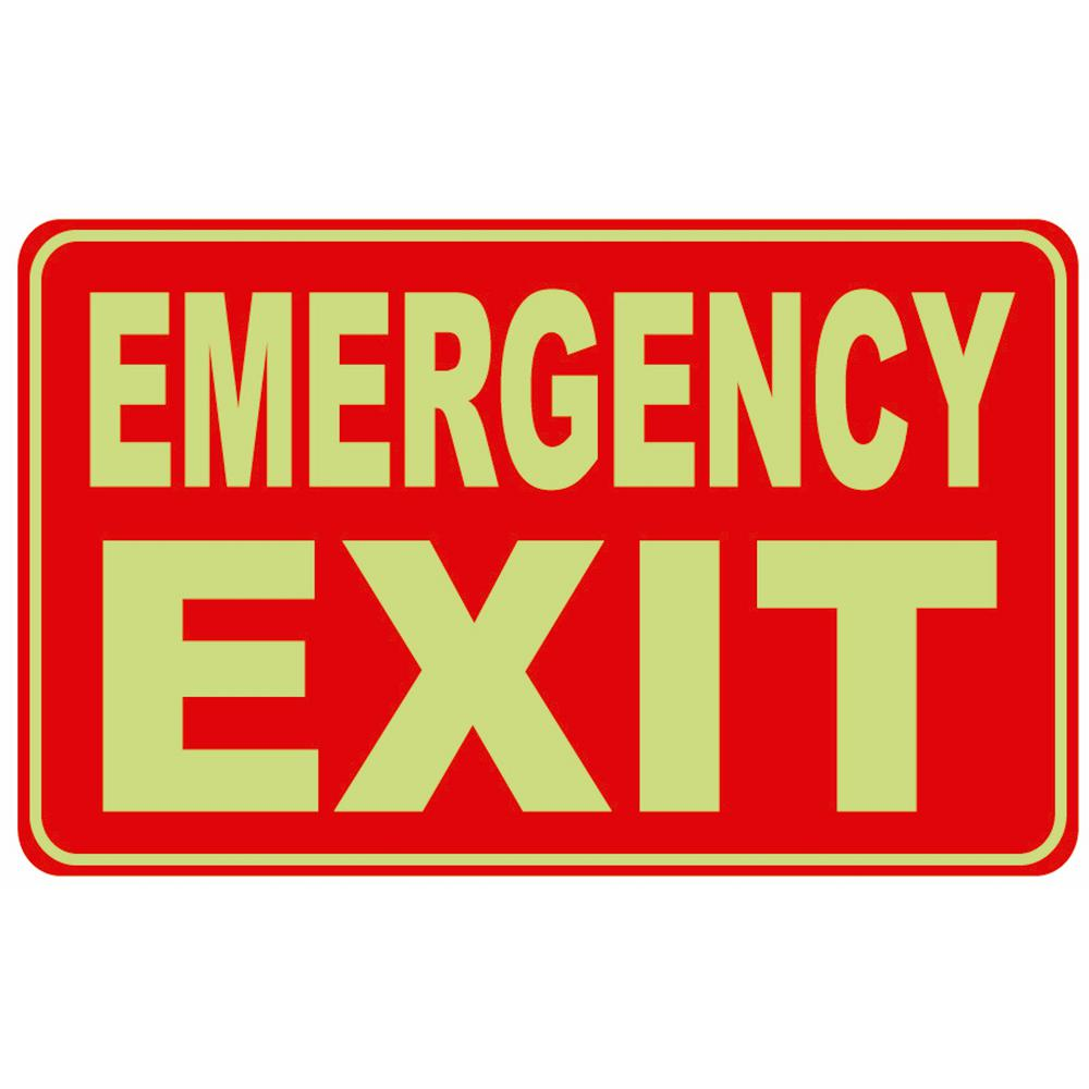 12 in. x 8 in. Glow-in-the-Dark Rectangular Plastic Emergency Exit Sign